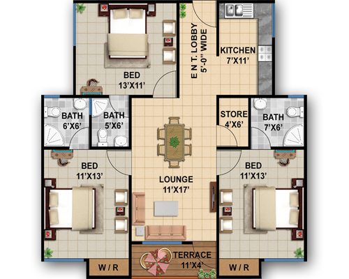 Type-A 1235 sft. 3 Bed+Lounge+Terrace
