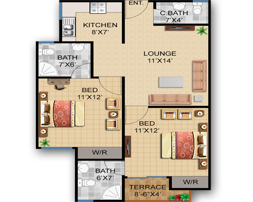 Type-B 887 sft. 2 Bed+Lounge+Terrace